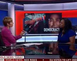Juliet Gilkes Romero speaking on BBC World News