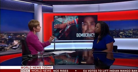 Juliet Gilkes Romero speaking on BBC World News